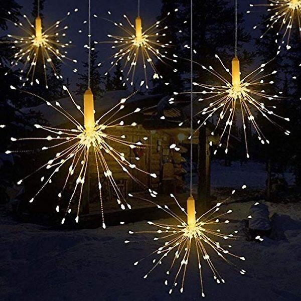 120-200 Leds Hanging Starburst String Lights Fairy DIY Firework Copper Wire Christmas Lights Garland For Party Home Decor