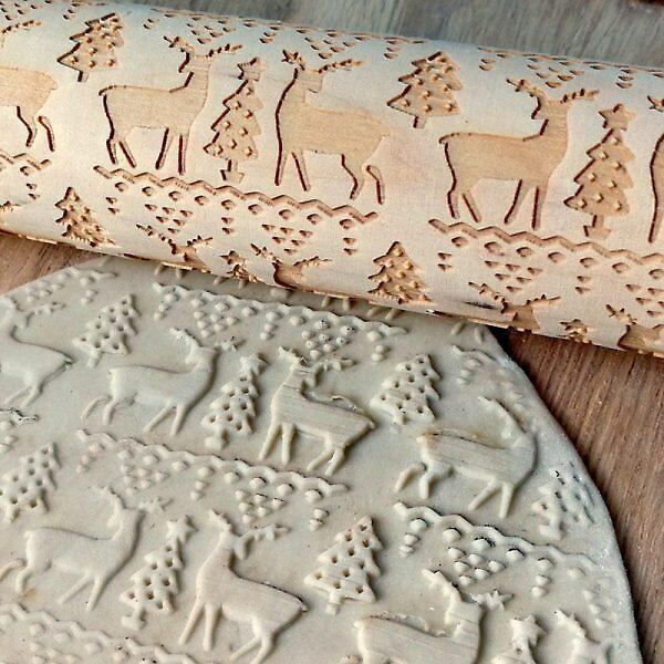 HUIRAN Merry Christmas Elk Wooden Print Rolling Pin Christmas Decorations for Home 2019 Navidad Noel Dessert Tools New Year 2020